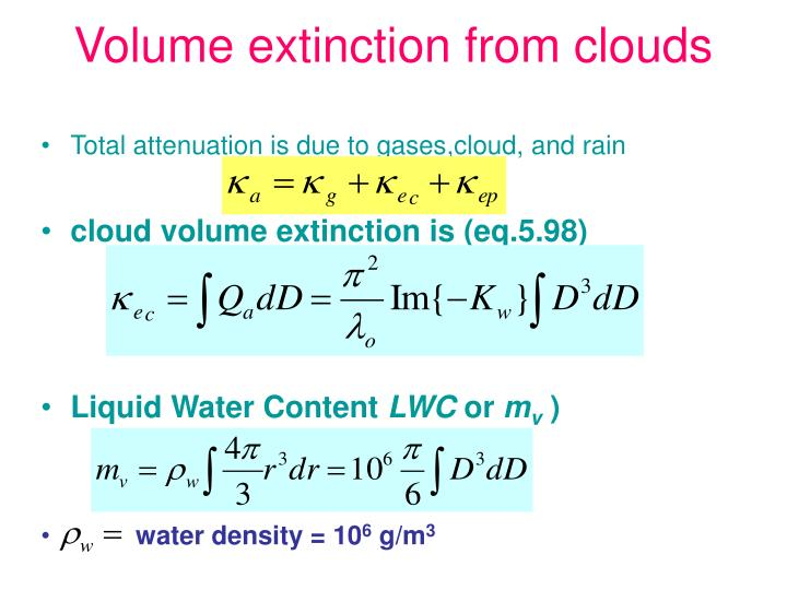 Volume extinction from clouds