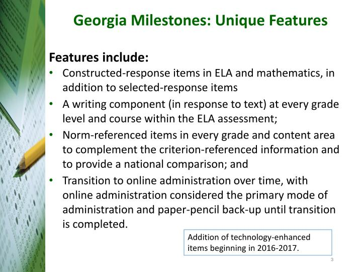 Georgia milestones unique features