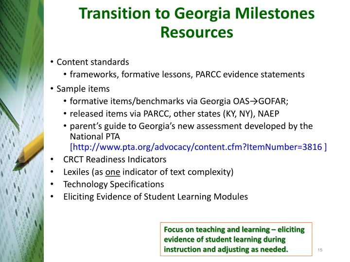 Transition to Georgia Milestones