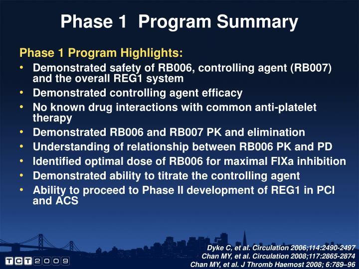 Phase 1  Program Summary