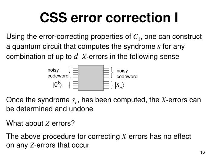 CSS error correction I