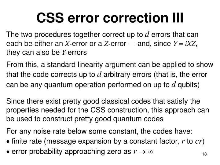 CSS error correction III