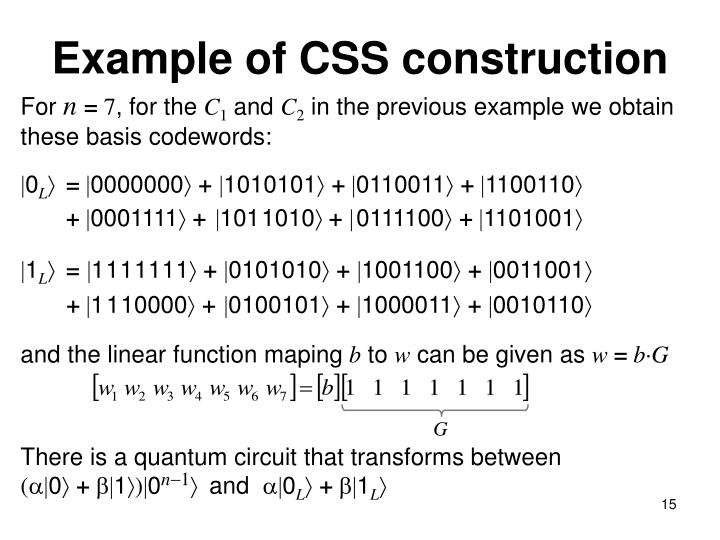 Example of CSS construction
