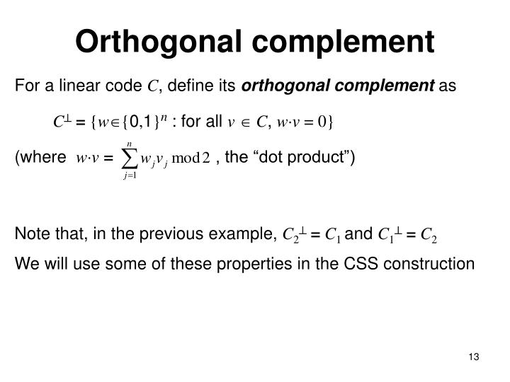 Orthogonal complement