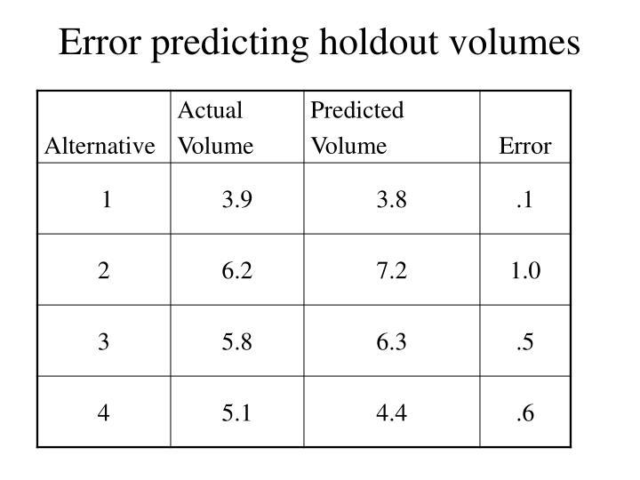 Error predicting holdout volumes