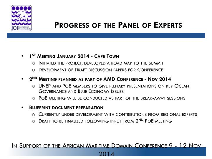 Progress of the Panel of Experts