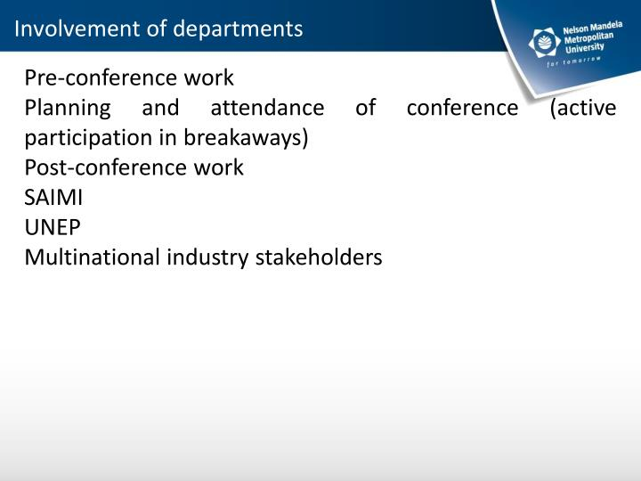 Involvement of departments