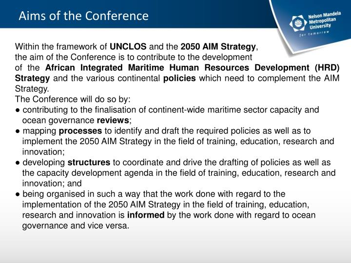Aims of the Conference