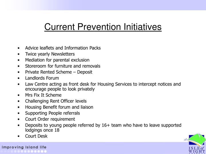 Current Prevention Initiatives