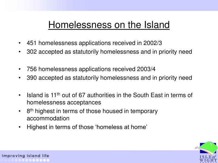 Homelessness on the Island