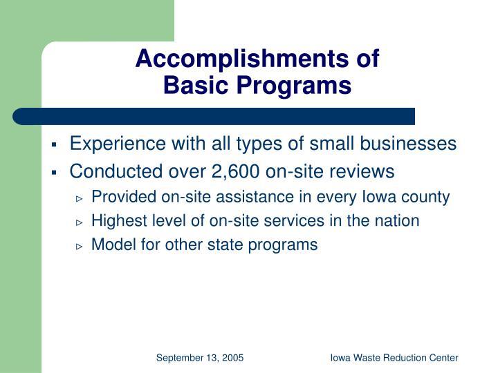 Accomplishments of