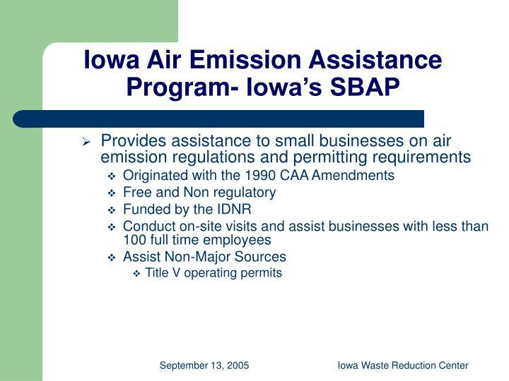 Iowa Air Emission Assistance Program- Iowa's SBAP