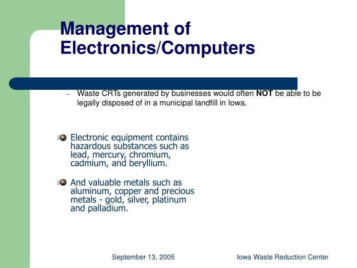 Management of Electronics/Computers