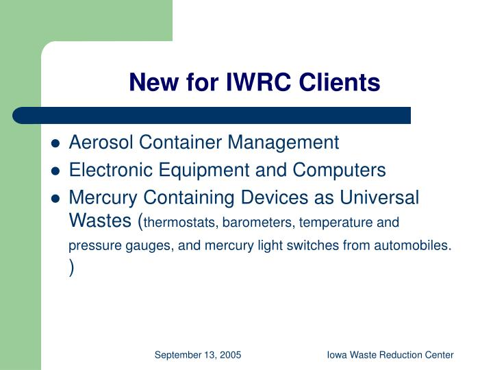 New for IWRC Clients