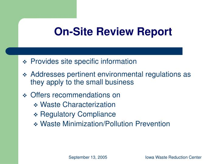 On-Site Review Report