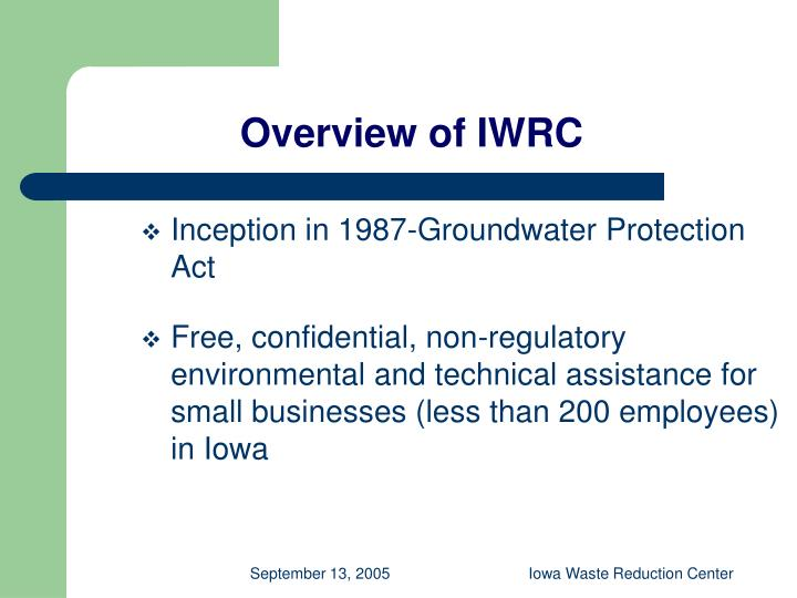 Overview of IWRC