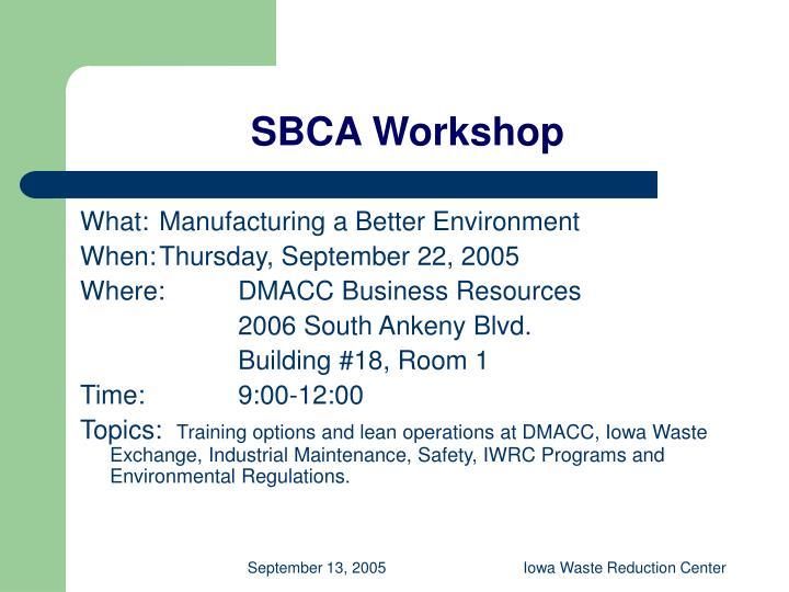SBCA Workshop