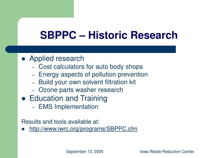 SBPPC – Historic Research