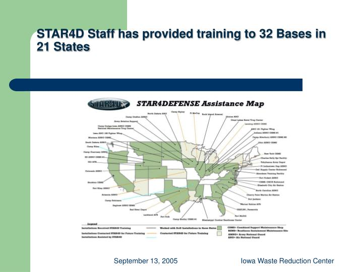 STAR4D Staff has provided training to 32 Bases in 21 States