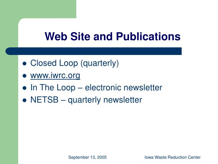 Web Site and Publications