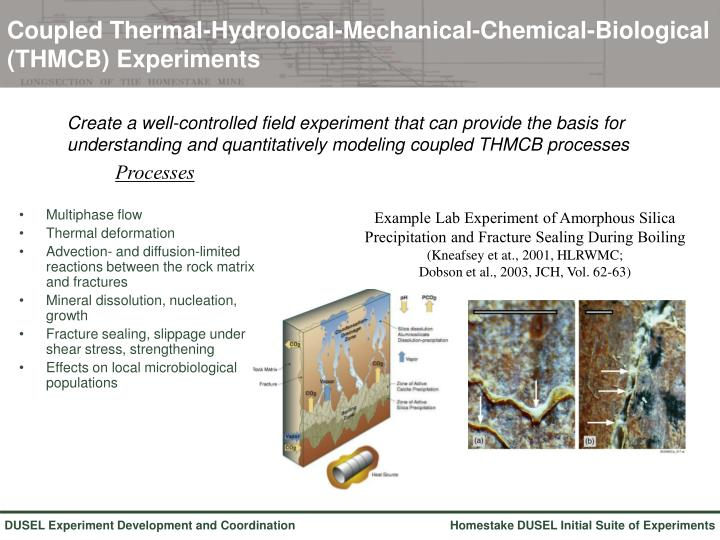 Coupled Thermal-Hydrolocal-Mechanical-Chemical-Biological (THMCB) Experiments