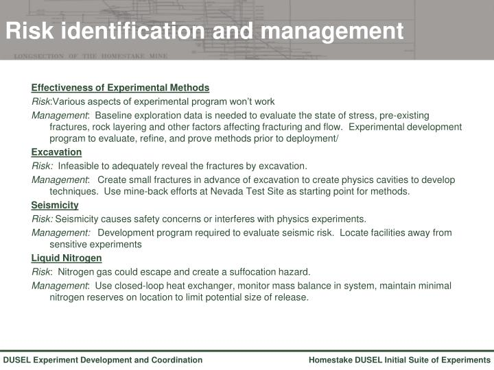 Risk identification and management