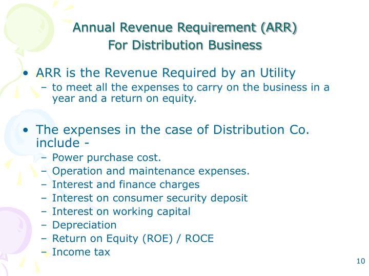 Annual Revenue Requirement (ARR)