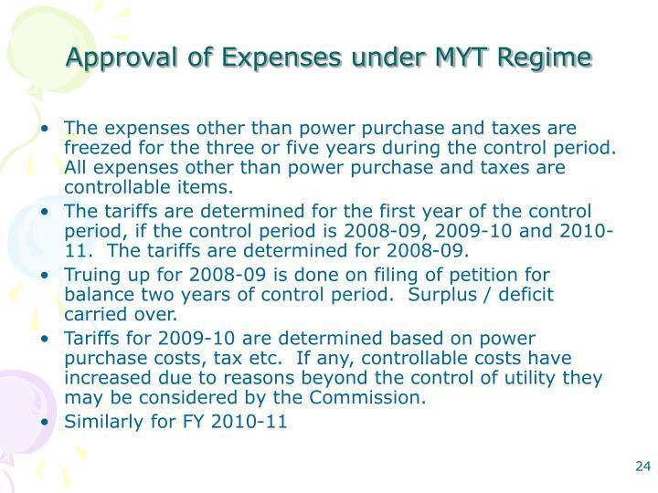 Approval of Expenses under MYT Regime