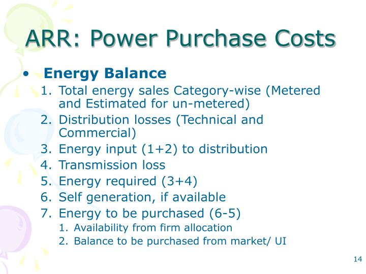 ARR: Power Purchase Costs