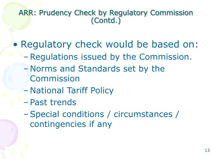 ARR: Prudency Check by Regulatory Commission