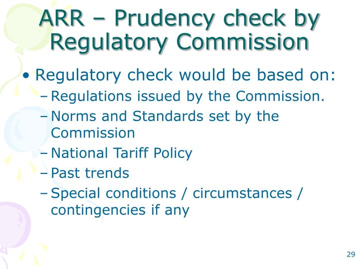 ARR – Prudency check by Regulatory Commission