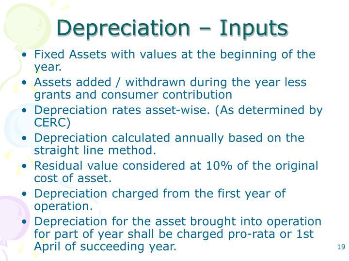Depreciation – Inputs