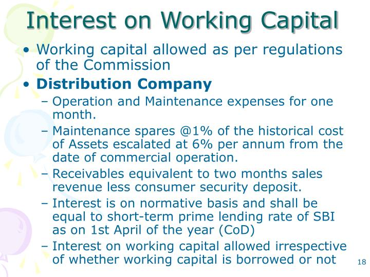 Interest on Working Capital