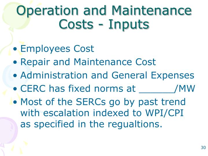 Operation and Maintenance Costs - Inputs
