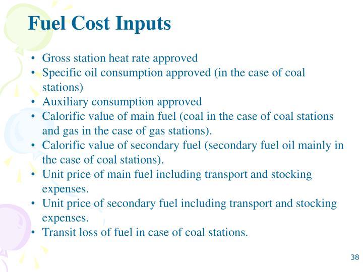 Fuel Cost Inputs