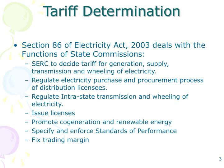 Tariff Determination
