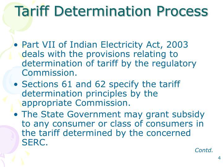 Tariff Determination Process