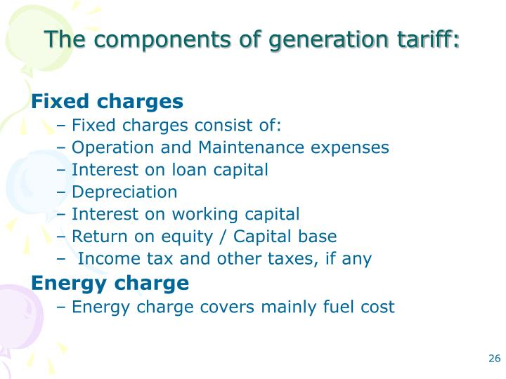 The components of generation tariff: