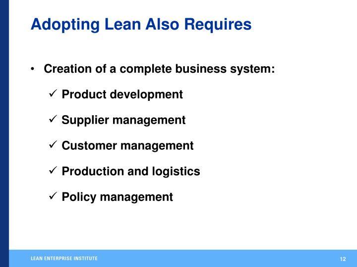 Adopting Lean Also Requires
