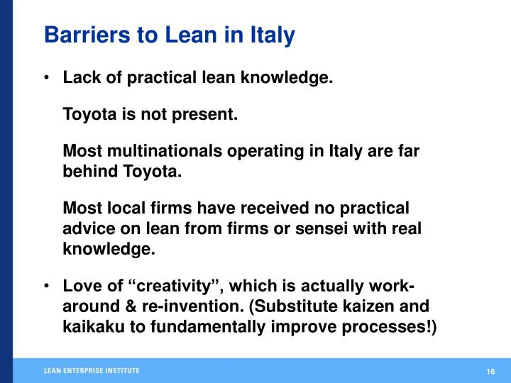 Barriers to Lean in Italy