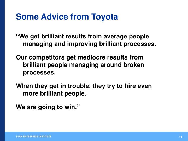 Some Advice from Toyota