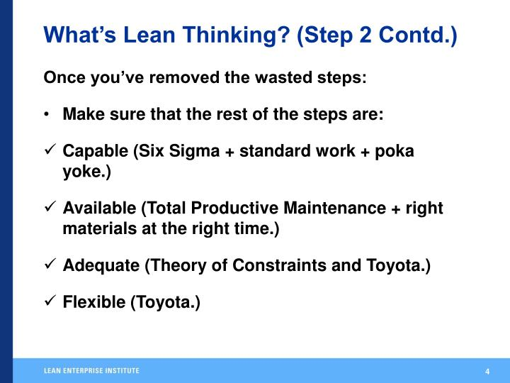 What's Lean Thinking? (Step 2 Contd.)