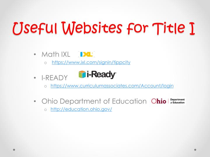 Useful Websites for Title I