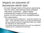 impacts on outcomes of businesses which start