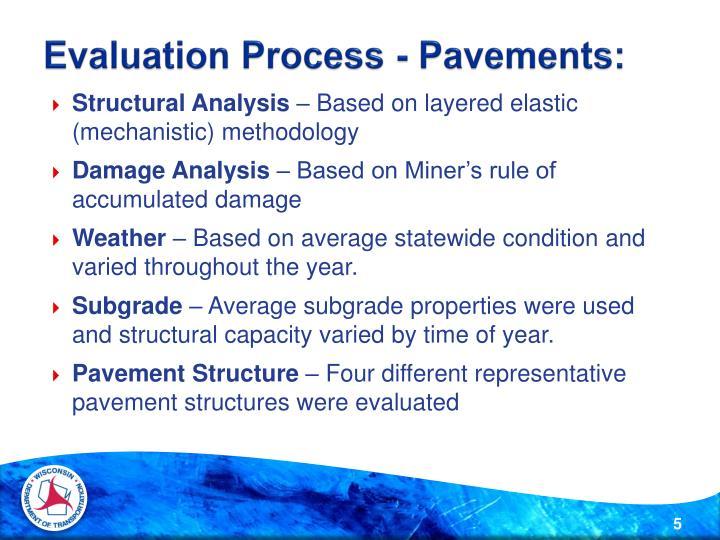 Evaluation Process - Pavements: