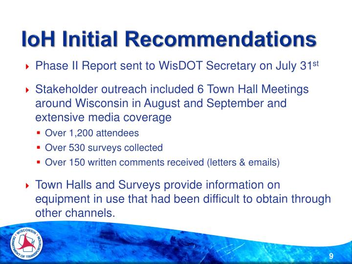 IoH Initial Recommendations