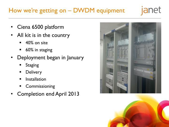 How we're getting on – DWDM equipment