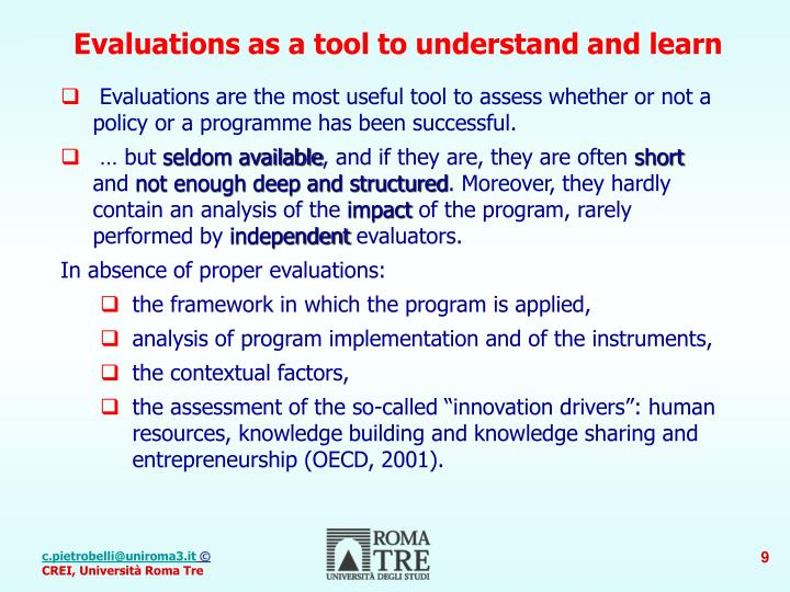 Evaluations as a tool to understand and learn