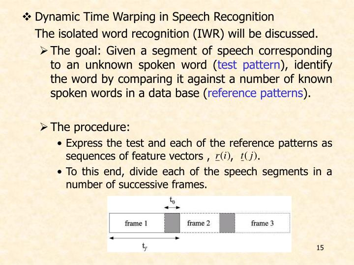 Dynamic Time Warping in Speech Recognition