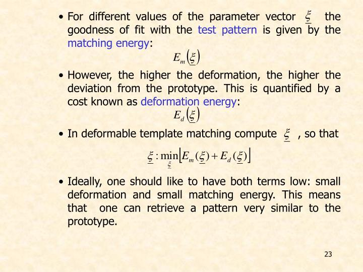 For different values of the parameter vector     the goodness of fit with the